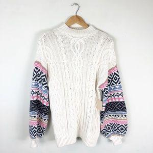 NWT Forever 21 Fair Isle Sleeve Sweater